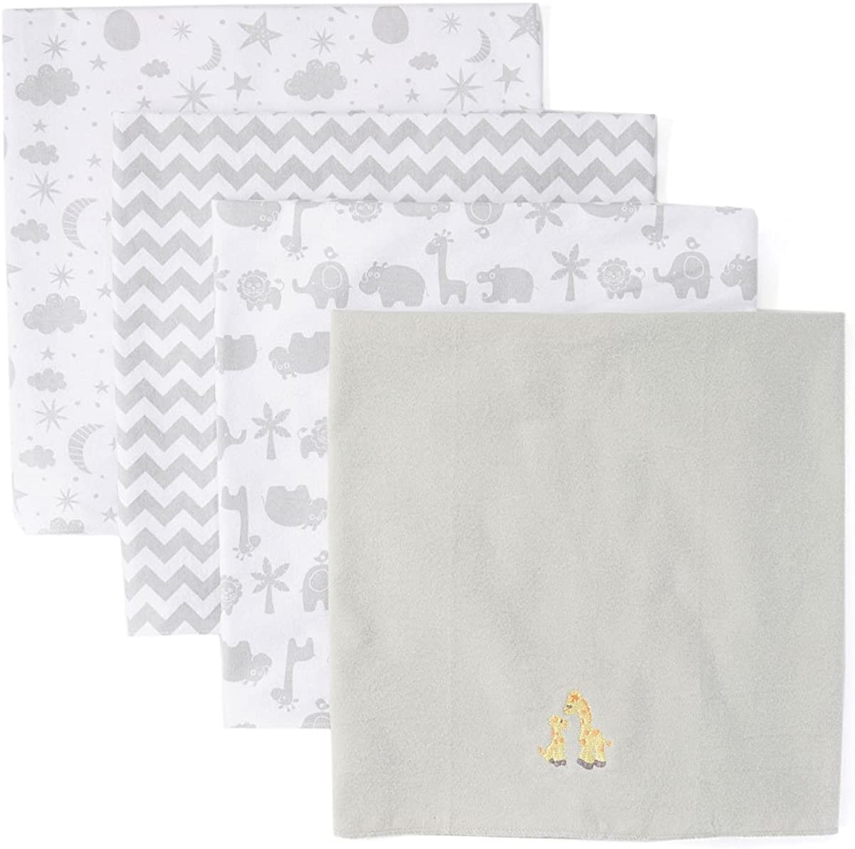 Spasilk Baby 4 Pack 100% Cotton Flannel Receiving Blanket, Grey Giraffe, One Size: Clothing
