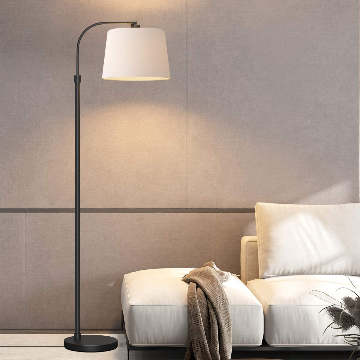 Amazon Com Oneach Modern Floor Lamp For Living Rooms Led Contemporary Arc Standing Lamps For Bedrooms Accent Tall Pole Light For Reading With Hanging Lamp Shade Black Home Improvement