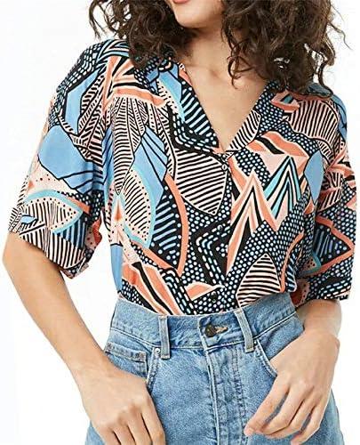 SETGVFG Blusas De Mujer Blusa De Gasa De Manga Corta De Verano De Moda Cuello Abajo Camisa De Oficina De Mujer Tops Sueltos Blusas De Talla Grande: Amazon.es: Deportes y aire libre