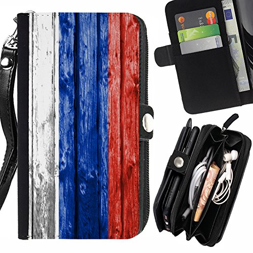 FJCases Russia Russian Wood Pattern Flag Card Holder Wallet with Strap and Zipper Cover Case for HTC Desire 828 Dual Sim
