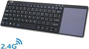 Liir teclado inalámbrico con Multi Touchpad, Ultra Slim cubierta de acero inoxidable KODI XBMC Raspberry Pi Android caja HTPC IPTV mando a distancia ...