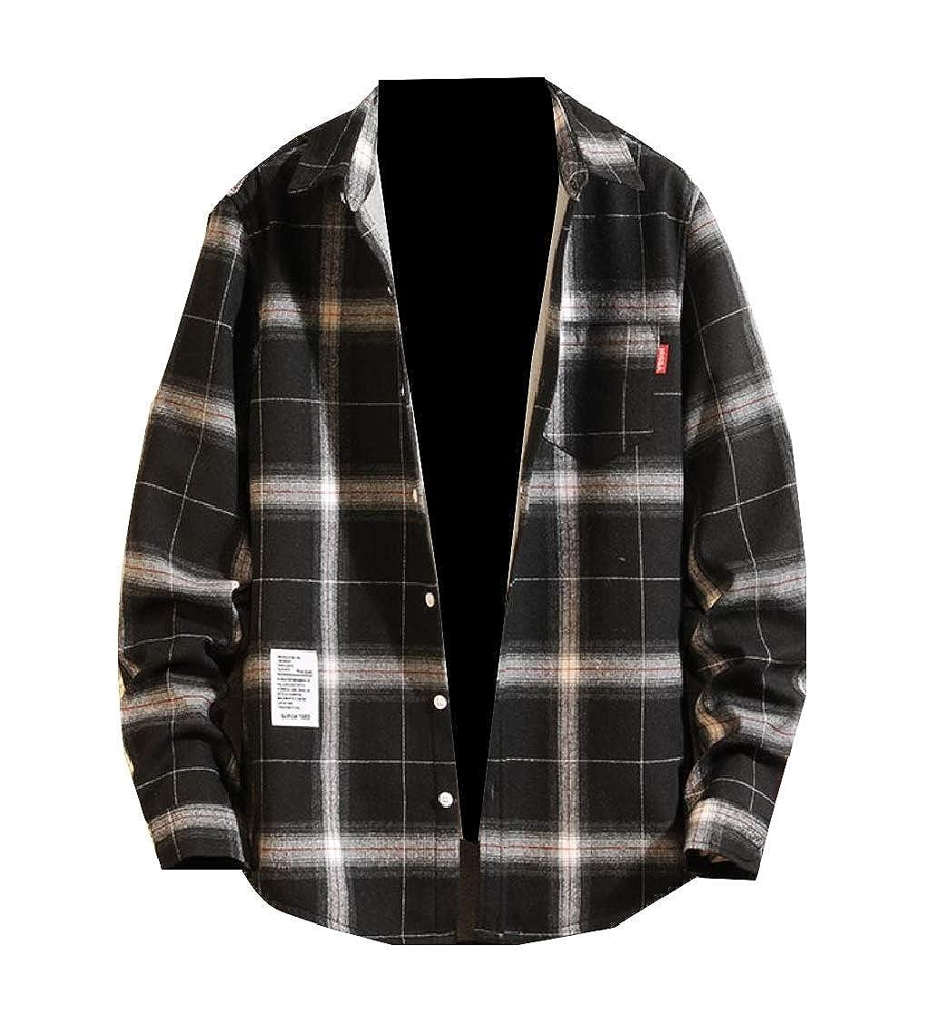 YUNY Men Chest Pockets Thickened Warm Fleece Casual Plaid Western Shirt Black S