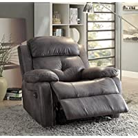 ComfortScape CS-59466 Microfiber Loveseat Recliner with Back and Seat Cushions, Gray Polished