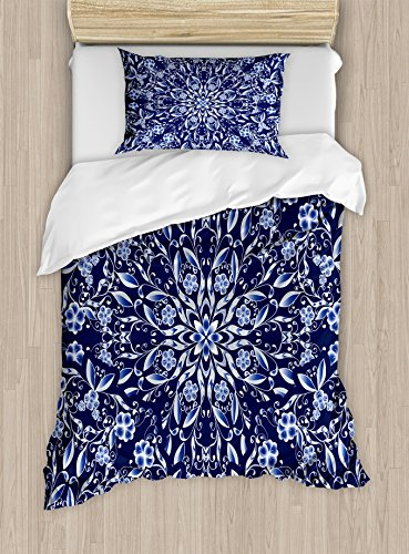 Ambesonne Dark Blue Duvet Cover Set, Chinese Painting Style Artwork Traditional Floral Interlace Print, Decorative 2 Piece Bedding Set with 1 Pillow Sham, Twin Size, Dark Blue