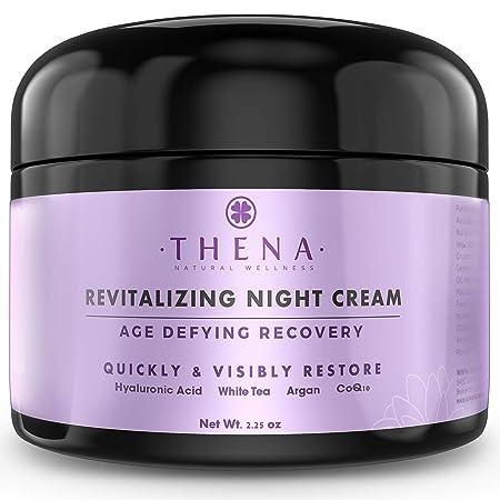 Organic Night Cream Anti Aging Wrinkle Cream With Hyaluronic Acid Argan Oil, Natural Face Moisturizer Under Eye Cream For Dark Circles, Rapid Repair Facial Lotion For Dry Sensitive Skin, Women Men