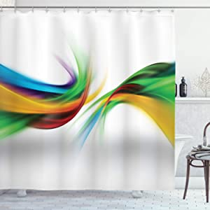 Ambesonne Abstract Shower Curtain, Abstract Rainbow Inspired Shapes Blurred Flooding Rays Stripes Color Bands Print, Cloth Fabric Bathroom Decor Set with Hooks, 75