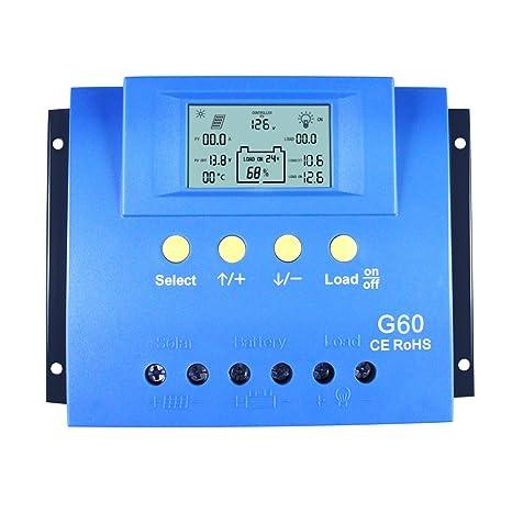 y-solar 60 A 80 A PWM controlador de carga solar Batería regulador retroiluminación LCD