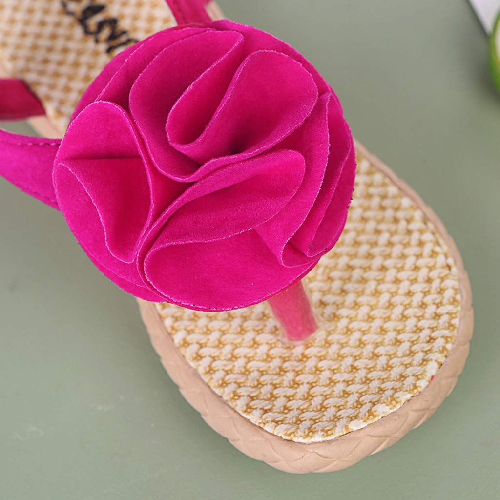❤️Rolayllove❤️ Girls Sandals Toddler Bohemian Open Toe Flower Flats Shoes for Kids