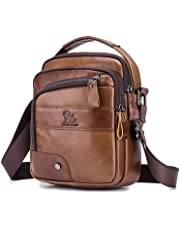 Men's Shoulder Bag, Popoti Handbag Crossbody Bag Leather Shopping School Backpack Messenger Carrying Bags Tote Wallet Small Pocktes 18cm (Brown)