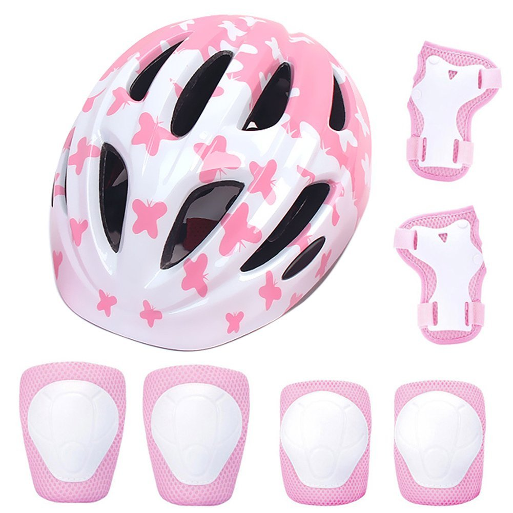 ADMIRE Kids Skateboard Skate Scooter Cycling Bike Helmet with Safety Knee Pads Elbow Wrist Protection Set Adjustable from Toddler to Youth Size for 3-10 Years Old Boys and Girls