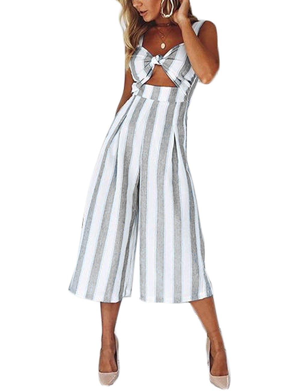 Grey Subtle Flavor Women Spaghetti Strap Jumpsuit Striped Wide Leg Long Romper
