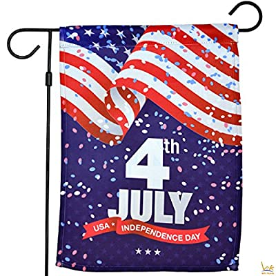 "WK Home Memorial Independence Day 4th of July USA Garden Flag, Double-Sided Home Decorative Flag 12.5"" x 18"""