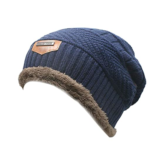 Cebbay Gorros de Punto Hombre Invierno cálido y Suelto de Gran tamaño Suave  Capa Interna Sombreros 710c73a7d43