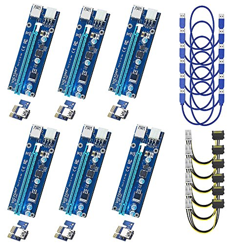 VICTONY 6Pin 6-Pack PCI-E 1x to 16x Powered Riser Adapter Card With 23.6 inch USB 3.0 Extension Cable & 6 Pin PCI-E to SATA Power Cable-GPU Riser Adapter-Ethereum Mining ETH+MintCell 6 Cable Ties(6 P3 P3 Dual Card