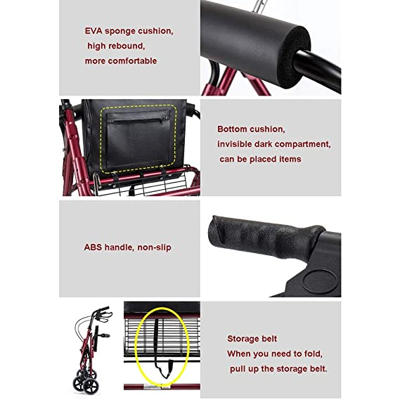 Andadores para Adultos | Aluminio | Plegable | Asiento y Respaldo ...