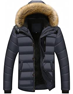 Ghope Herren Parka Winterjacke Fellkapuze Winterparka Wintermantel Mantel  Fell Teddyfell Pelz Kunst Winter Warme GH18 fea4add8f2