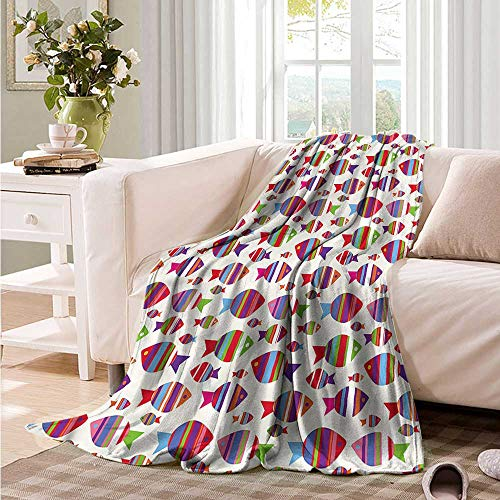 Oncegod Blanket Custom Photo Kids Vibrant Striped Fishes Recliner Throw,Couch Throw, Couch wrap 60