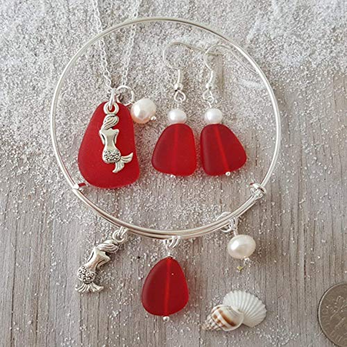 Freshwater Pearl, Ruby RedJanuary Birthstone sea glass Necklace+Earrings Set Starfish Charm Handmade in Hawaii Hawaii Gift Wrapped, Customizable Gift Message