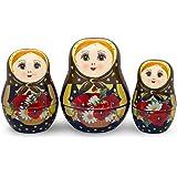 UNAMOI Matryoshka ceramic Measuring Cups, Poppy, Set of 6, Small, Red Floral