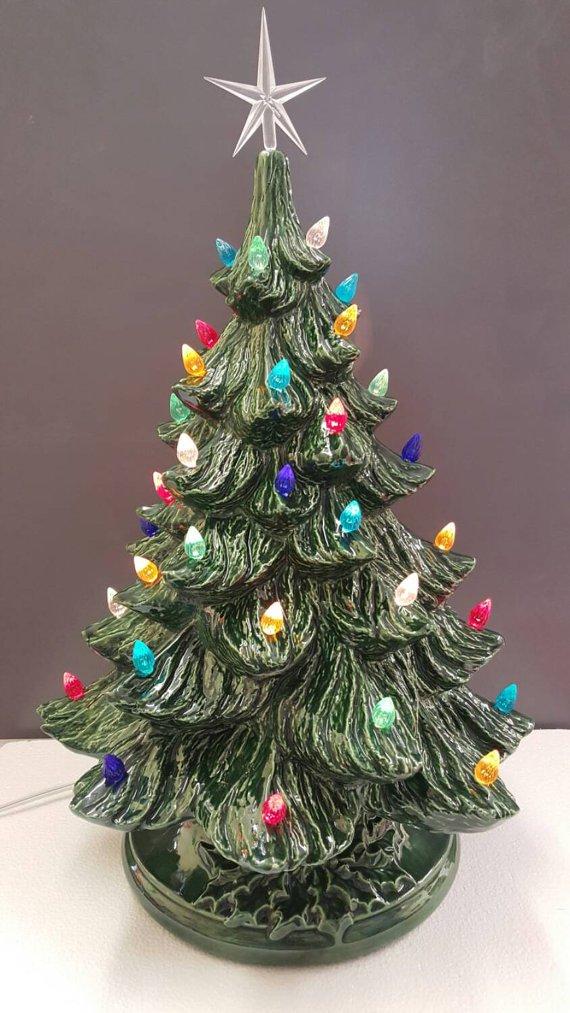 Amazon.com: VINTAGE Style Ceramic Christmas Tree - Large Ceramic Tree 17
