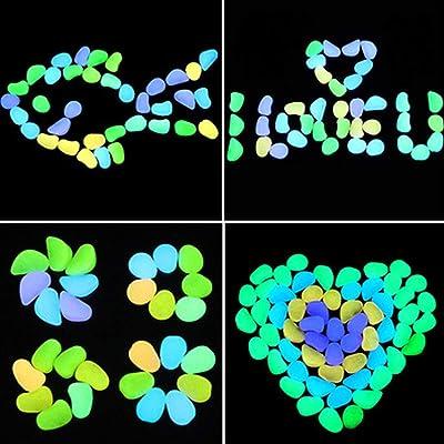 TOPIA STAR Glow in The Dark Pebbles, Glow Decorative Stones Rocks, Luminous Pebbles for Outdoor Decor, Garden Lawn Yard, Aquarium, Walkway, Fish Tank, Pathway, Driveway (100 PCS, Multicolor) : Garden & Outdoor