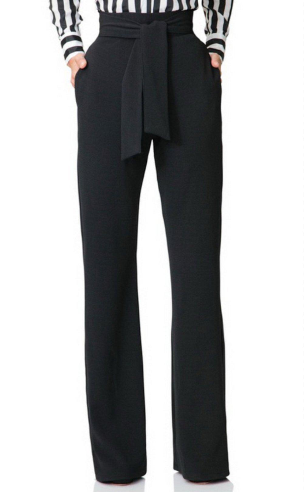 Molisry Women Casual Stretchy Straight Leg High Waisted Long Pants Belt by Molisry