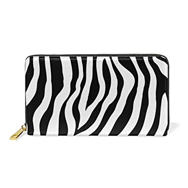 549eddaa53b8 Women Genuine Leather Wallet Purse Zebra Skin Print Card Holder ...