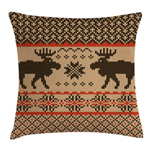 Ambesonne Cabin Decor Throw Pillow Cushion Cover by, Knitted Swatch with Deers and Snowflakes Classic Country Plaid Digital Print, Decorative Square Accent Pillow Case, 24 X 24 Inches, Brown Tan Red