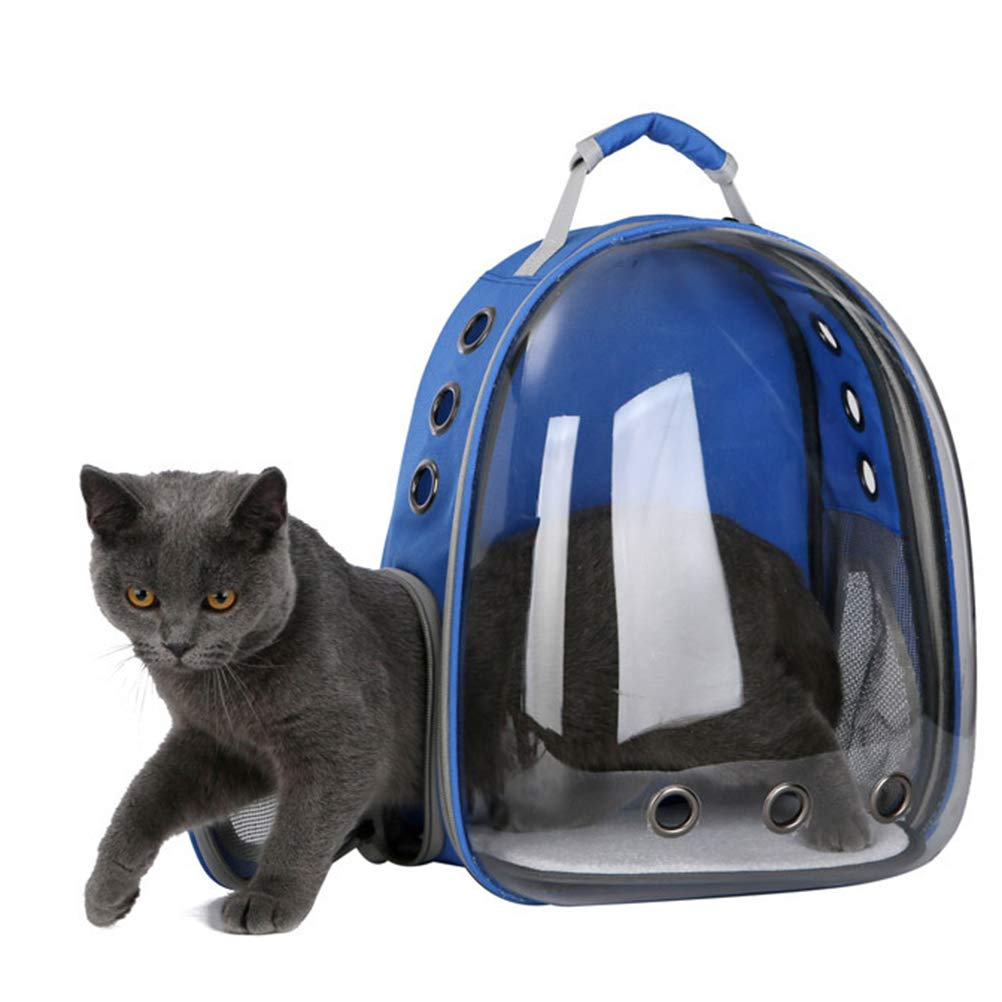 bluee Portable pet cat Dog Puppy Backpack Carrier Outdoor Carrying Bag Bubble 360 Degree Transparent Space Capsule Backpack(bluee)