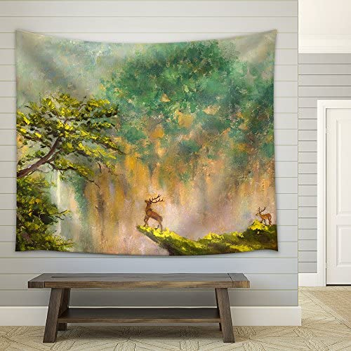 Original Oil Painting of Deer on The Edge of a Cliff in a Mountain Forest Impressionism Art Fabric Wall