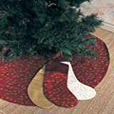 Elegant Gold Embroidery Burgundy Christmas Tree Skirt, 52 Inch Round, One Piece