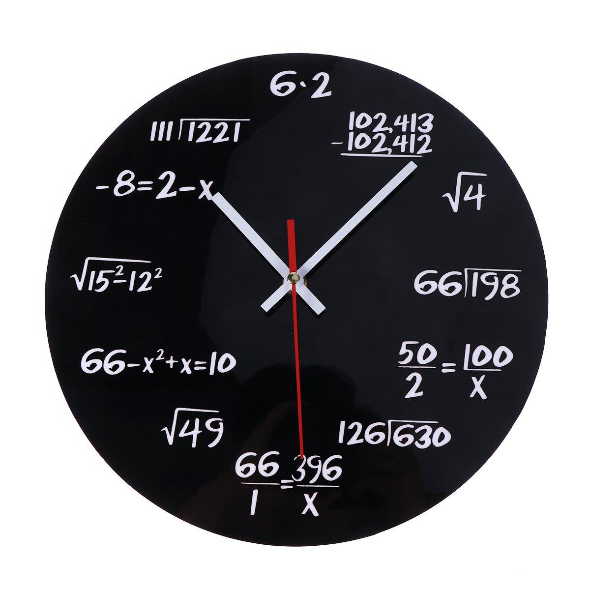 """VORCOOL - Orologio da parete """"Matematica"""", orologio da parete rotondo, creativo per l'aula scolastica, la casa, l'ufficio, come decorazione, regalo ideale per insegnanti e studenti l' ufficio"""