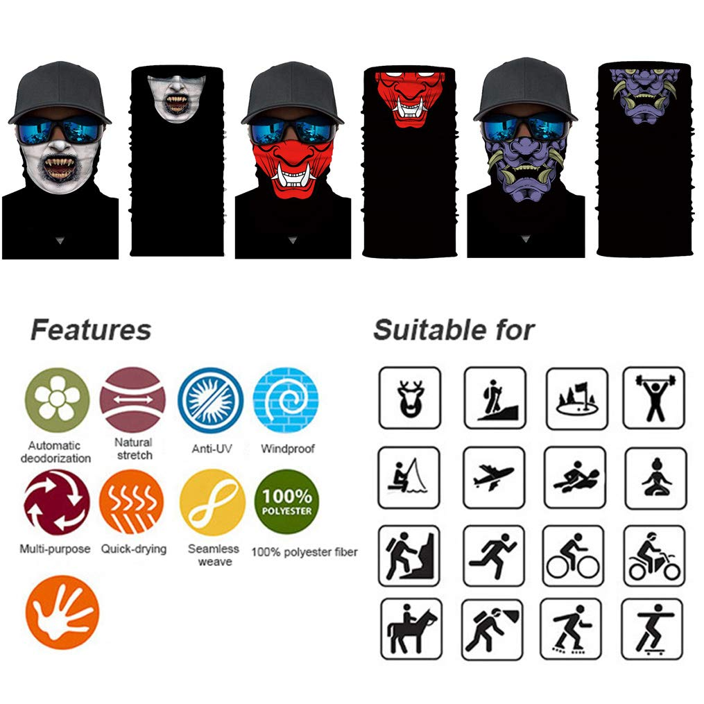 XIMIXI 3 Pack Motorbike Face Mask Elastic Seamless Multifunctional Headbands Outdoor Headwear Cycling Running Fishing Working Yoga Headband Bandana Sports Magic Scarf Neck Gaiter Balaclava Cap