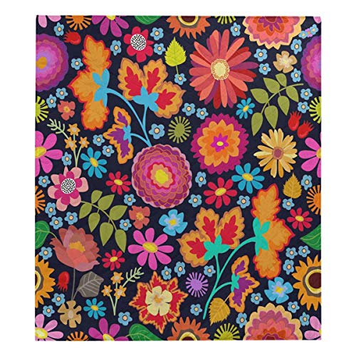 Chrysanthemum Quilt Fabric - InterestPrint Asters, Chrysanthemums, Roses and Sunflowers Soft Premium Fabric Quilt Bedding Twin Size 80