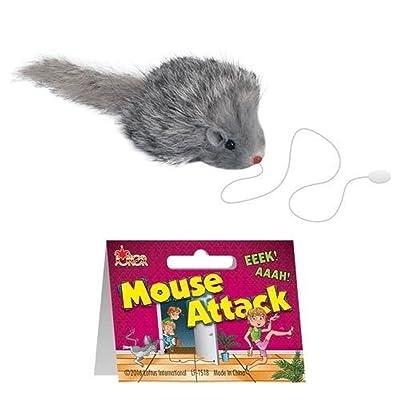 "Loftus Realistic Furry Fake Mouse Prop on String 2.5"" Prank, Grey: Toys & Games"