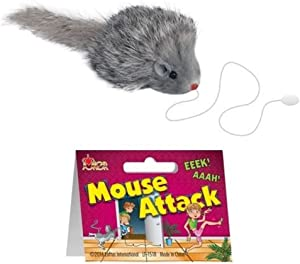 "Loftus Realistic Furry Fake Mouse Prop on String 2.5"" Prank, Grey"