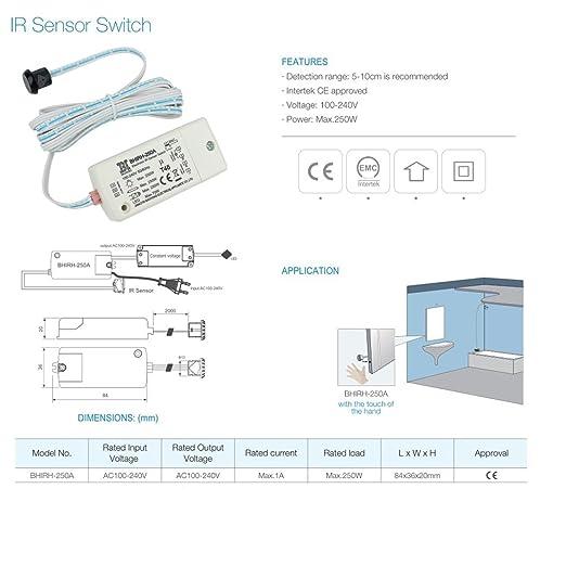 Interruptor infrarrojo del sensor BHIRH-250A voltaje dual 100-240V luces inteligentes interruptor de detección de movimiento 5-10cm usado fuera del gabinete ...
