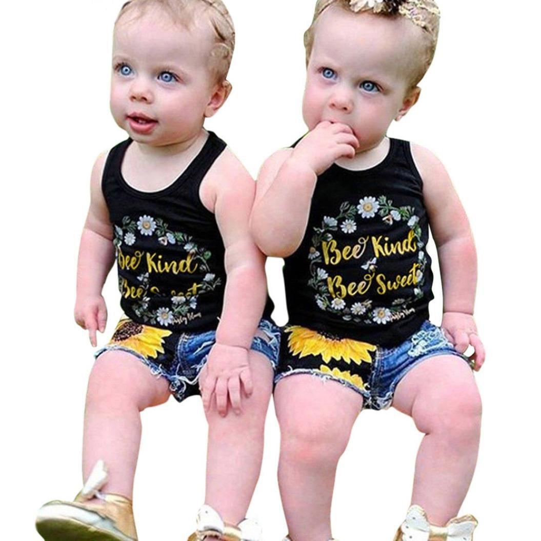 2Pcs/Set Fashion Toddler Kids Baby Girl Sleeveless T-Shirt Top+Floral Denim Shorts Outfits (Black 2, 4T)