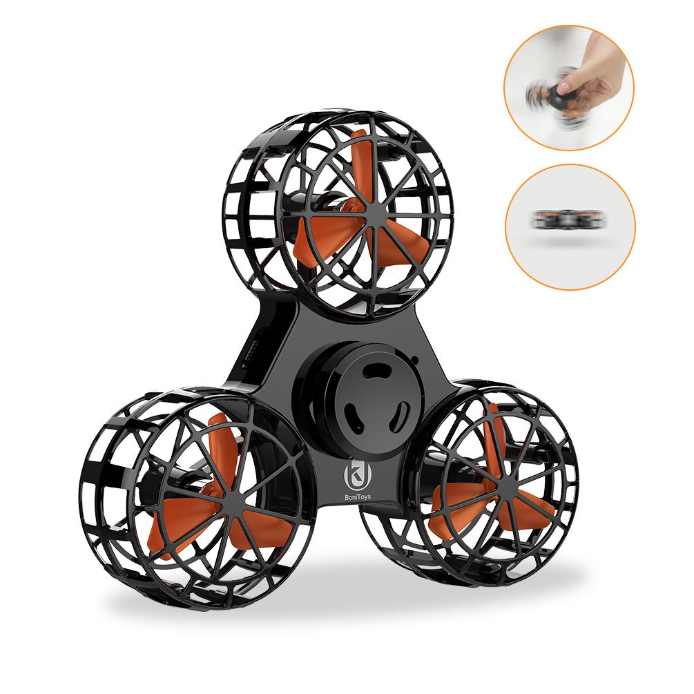 UK BONITOYS Handheld Flying Fidget Spinner Anti-Anxiety Adhd Relieving Reducer Outdoor Interactive Toys for Kids Adult, Black