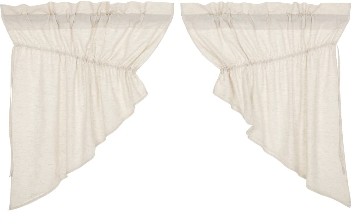 VHC Brands Simple Life Flax Natural Valance, Prairie Swag Set 36x36x18