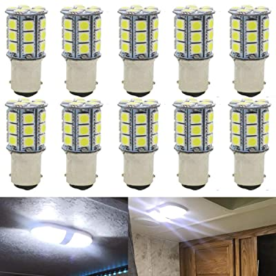 JAVR - Pack of 10-6500K White 1142 BA15D LED Bulbs 5050 27-SMD Replacement Lamps for 12V Interior RV Camper Trailer Lighting Boat Yard Light Brake Tail Bulbs: Automotive