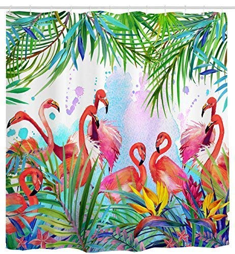 - Mimihome Flamingo Shower Curtain, Flamingos with Tropical Leaves and Flowers Pattern Waterproof and Anti Mildew Fabric Bathroom Shower Curtains, 72W by 72H, Pink Green