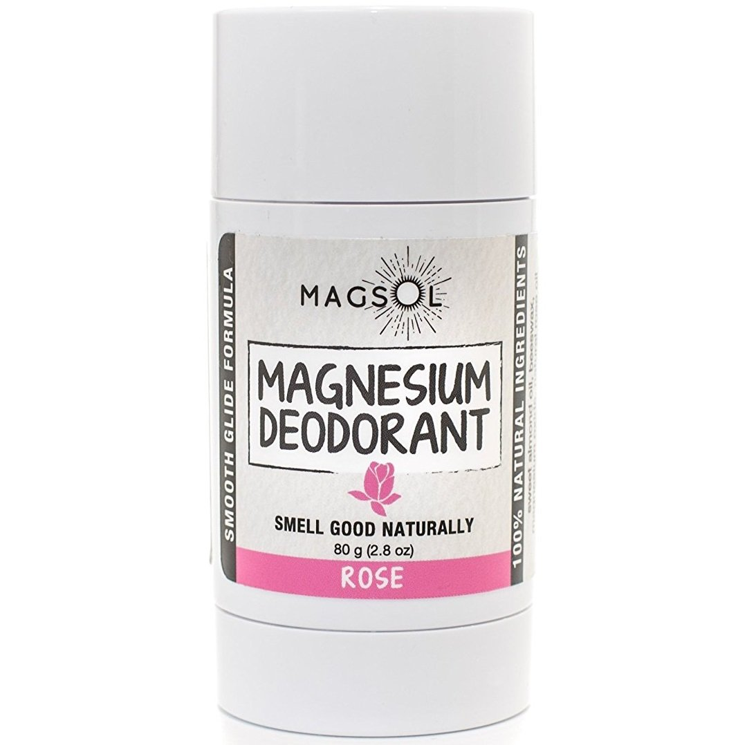 Rose Magnesium Deodorant - Aluminum Free, Baking Soda Free, Alcohol Free, Cruelty Free, Sensitive Skin, All Natural, For Women Men Boys Girls Kids, Magnesium Deodorant 2.8 oz (Lasts over 4 months) by MagSol Organics (Image #1)