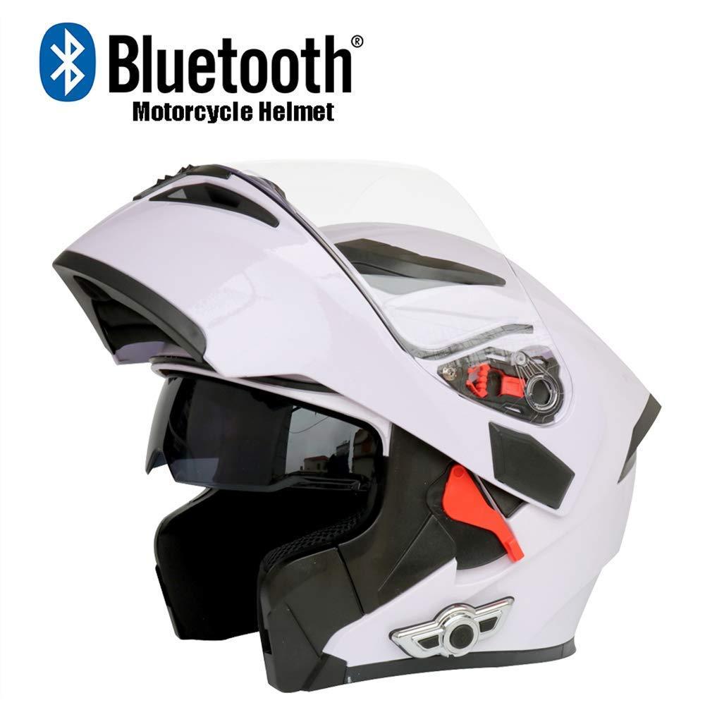 NBZH Casco Modulare Moto Crash Moto D.O.T Certificazione-Full Face Racing Caschi Bluetooth Flip Frontale Risposta Automatica Anti-Nebbia Doppio Specchio Bianco, Bianco, M-XXL63CM ~ 64CM
