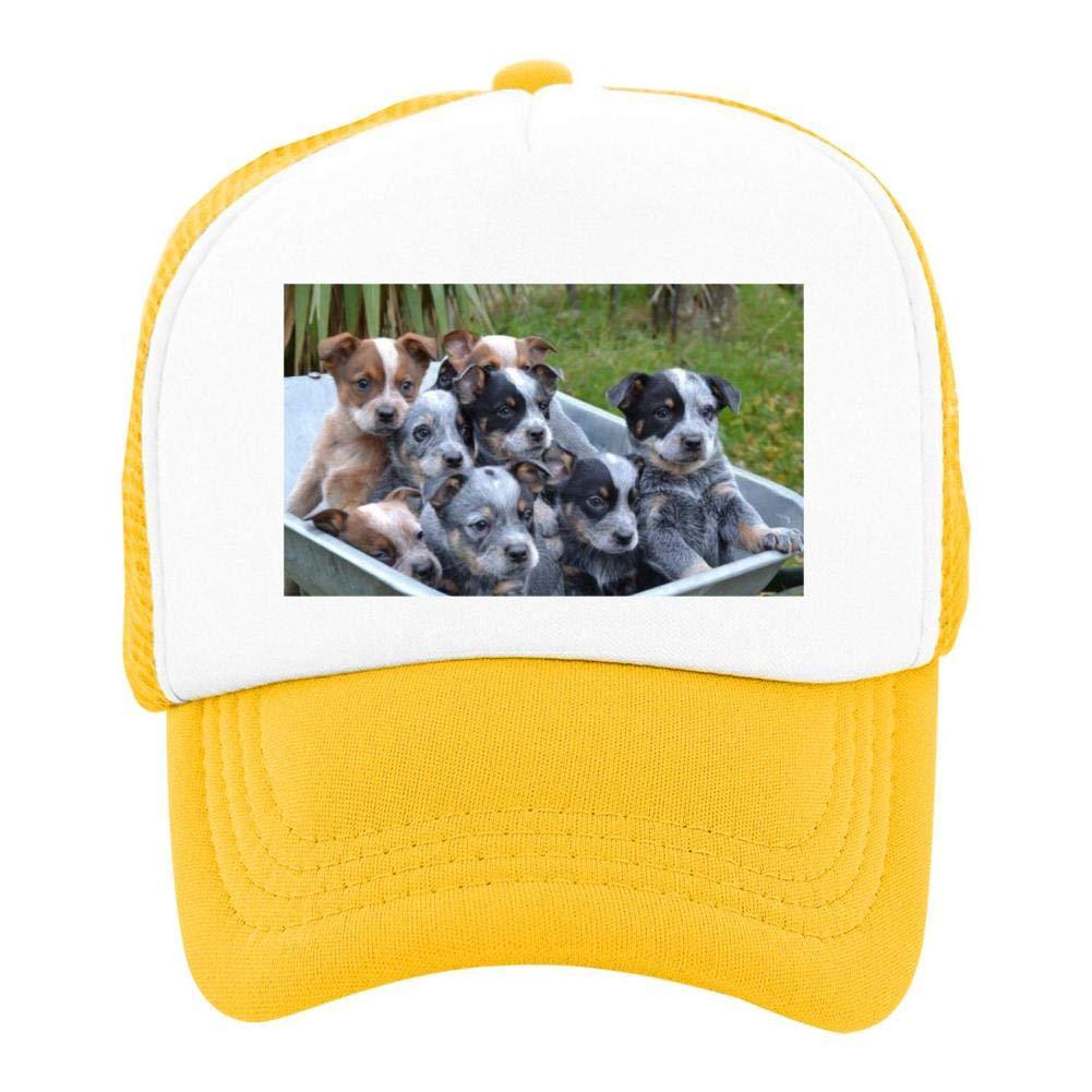 EThomasine Kids Girls Boys Mesh Cap Trucker Hats Australian Cattle Dog Adjustable Hat Yellow