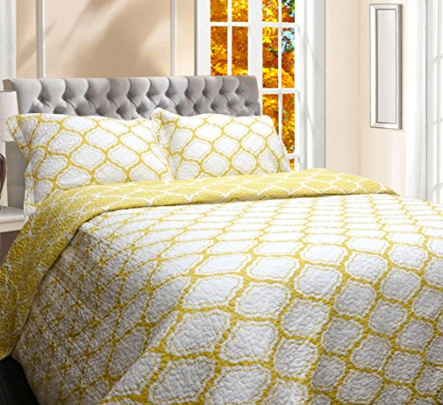 Moroccan Quilt Set - DriftAway 3 Piece Geometric Reversible Quilt Set/Bedspreads, Coverlets, Geo Moroccan Trellis Pattern, 100% Cotton Cover, Pre-washed/ Preshrink (Full/Queen, Yellow)