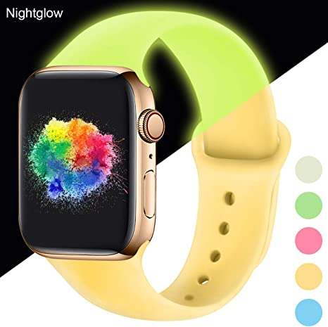 Imagen deYoumaofa Correa Compatible con Apple Watch 38mm 40mm, Correa de Silicona Repuesto Pulsera Deportivas para iWatch Series 5 Series 4 Series 3 Series 2 Series 1, 38mm/40mm S/M Nightglow Yellow