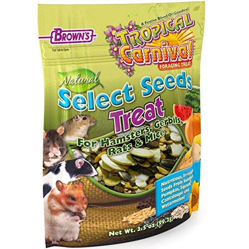 Tropical Carnival F.M. Brown's Natural Select Seeds Treat, 3.5-oz Bag - Natural Fiber, Antioxidants, and Essential Minerals for Hamsters, Gerbils, Rats, and (Tropical Carnival Hamster Food)