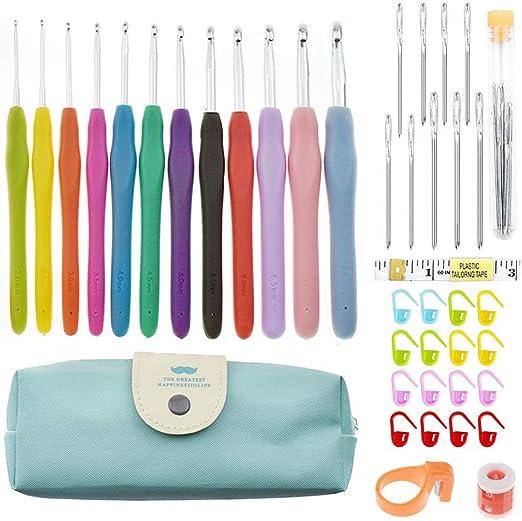 Juego de 40 agujas de ganchillo de aluminio con 12 agujas de tejer de colores suaves, 16 cierres de ganchillo, 9 agujas de punto de ojo grande para tejer, estuche de ganchillo: Amazon.es: Hogar