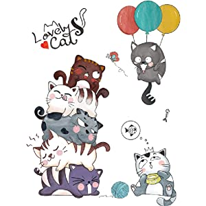 Amaonm 3D Cartoon Cat Wall Decals Removable DIY Lovely Kitty Play Ballon Wall Stickers Murals Kids Baby Nursery Room Peel Stick Art Decor for Boys Girls Teens Bedroom Living Room Classroom (Lovely)
